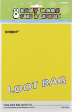 8 Yellow Plastic Loot/ Party Bags
